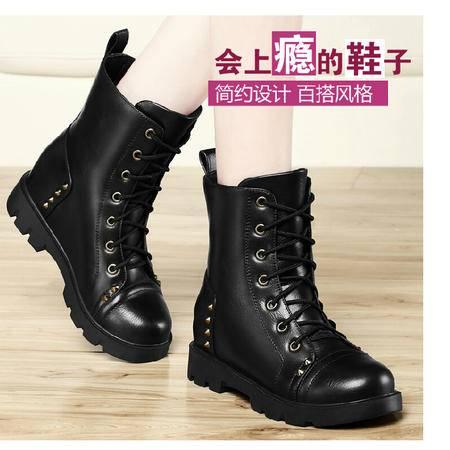 古奇天伦 春秋季新款铆钉女靴马丁靴内增高女鞋中筒棉靴子