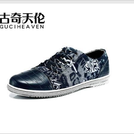 古奇天伦 涂鸦休闲男鞋 低帮牛仔布鞋子 潮流时尚真皮板鞋