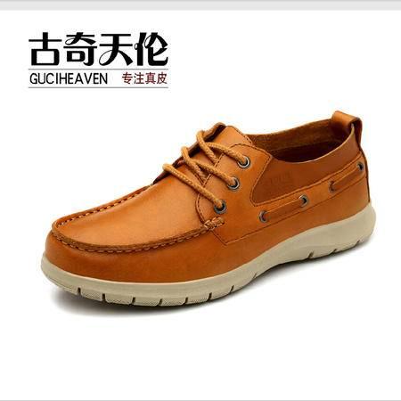 古奇天伦 春季新款日常休闲男鞋 头层牛皮休闲鞋 帆船鞋子