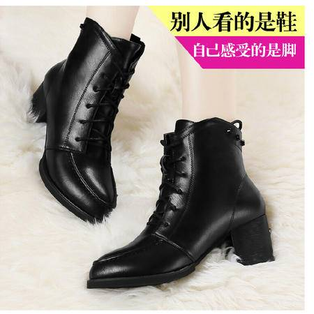 古奇天伦 方根女鞋尖头女靴棉鞋子高跟鞋短筒靴子