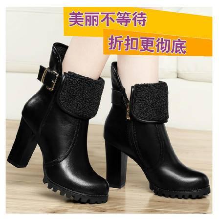古奇天伦 韩版秋冬粗跟短靴马丁靴休闲女靴保暖女棉靴鞋子