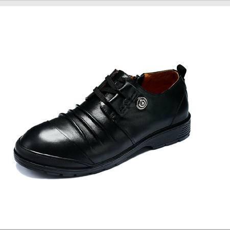 古奇天伦 商务休闲男鞋英伦时尚系带低帮鞋真皮软面耐磨鞋子男