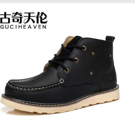 古奇天伦 流行男鞋潮 秋冬新款牛皮男鞋 休闲 工装靴 高帮板鞋