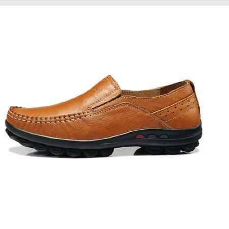 古奇天伦 松紧带套脚牛皮女鞋单鞋平底鞋平跟休闲妈妈鞋低帮鞋
