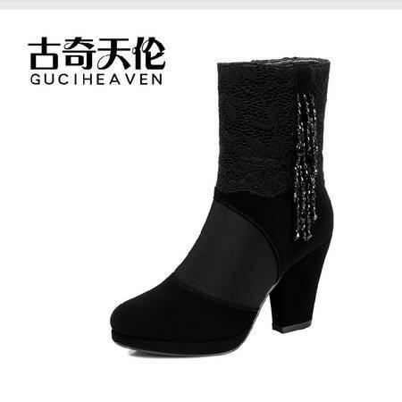古奇天伦 高跟女靴 时尚粗跟中筒靴 拉链水钻流苏靴时装秋冬款
