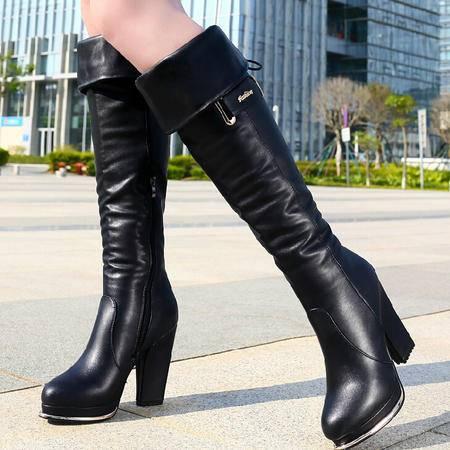 古奇天伦 欧美圆头高跟过膝长靴女 秋冬新款高筒显瘦骑士靴