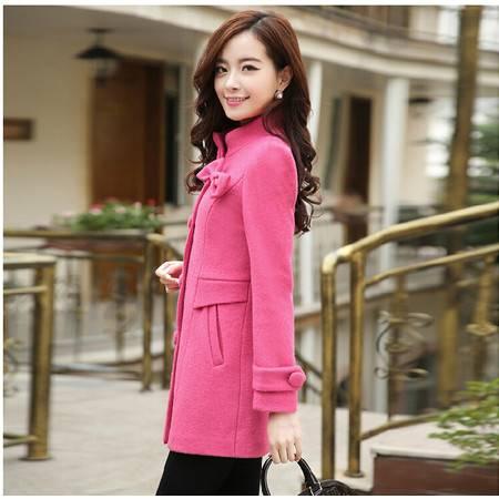 冬季爆款韩版修身通勤中长款长袖纯色呢外套
