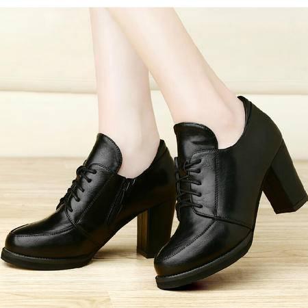 古奇天伦 秋季新款防水台深口女单鞋高跟鞋粗跟系带女鞋潮