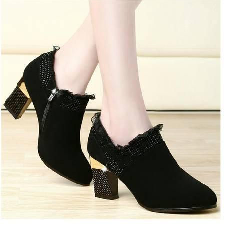 古奇天伦 水钻女鞋 蕾丝高跟鞋 粗跟休闲鞋子