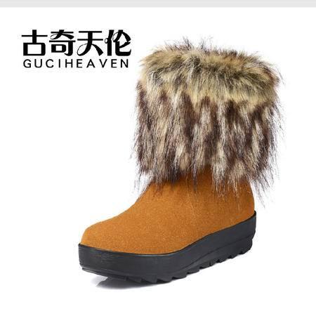 古奇天伦 反毛牛皮女鞋 厚底休闲鞋 羊毛女靴 狐狸毛雪地靴