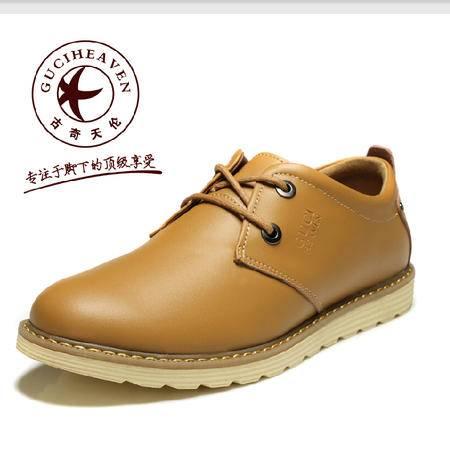 古奇天伦 商务休闲鞋 牛皮英伦潮流低帮鞋子 真皮透气工装男鞋