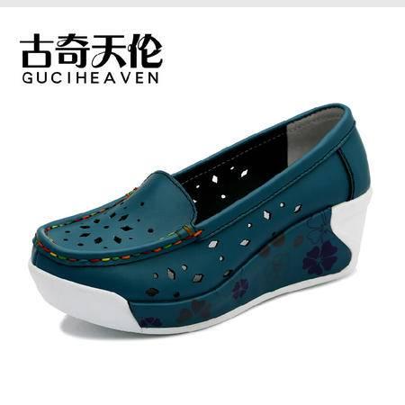 新款古奇天伦 牛皮女鞋坡跟冲孔透气低帮休闲鞋单鞋