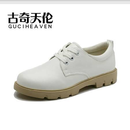 古奇天伦 秋季新款深口单鞋 圆头休闲平跟平底鞋 甜美系带女鞋