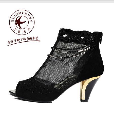 古奇天伦 真皮水钻女鞋 蕾丝网布高跟鞋性感鱼嘴反毛皮休闲鞋子