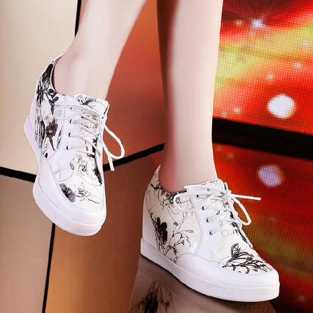莫蕾蔻蕾 秋季新款拼色系带 内增高松糕鞋 女鞋单鞋平跟鞋子