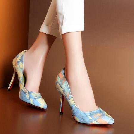 莫蕾蔻蕾 秋季新款拼色细跟高跟鞋尖头女鞋糖果色女单鞋