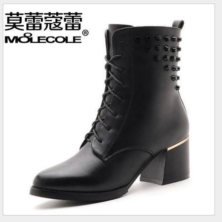 莫蕾蔻蕾冬季新款高跟女靴子马丁靴女粗跟短靴英伦加绒皮带扣女鞋