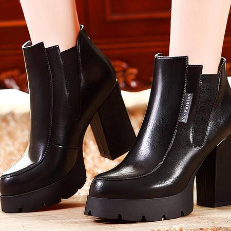 莫蕾蔻蕾 秋冬新款粗跟高跟女鞋弹力布女靴短靴马丁靴