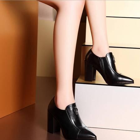 莫蕾蔻蕾 新款英伦复古女鞋尖头粗跟单鞋妈妈鞋高跟鞋女士皮鞋