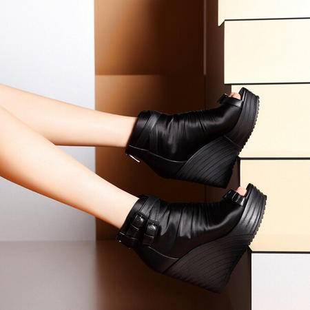 莫蕾蔻蕾 夏季新款鱼嘴坡跟高跟女鞋防水台靴帮女凉鞋子