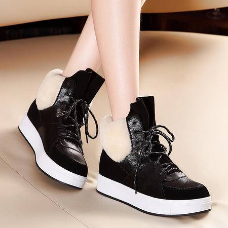 莫蕾蔻蕾 204秋冬新款平底低跟女鞋冬季保暖休闲运动高帮鞋
