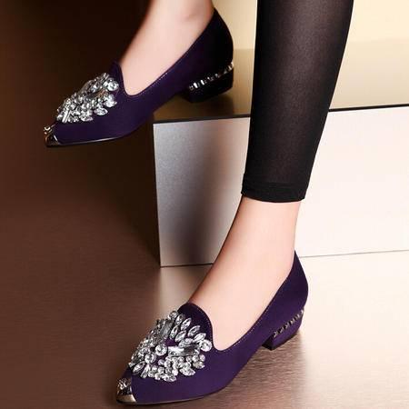 莫蕾蔻蕾 夏季新款尖头低跟女鞋粗跟水钻休闲单鞋豆豆鞋