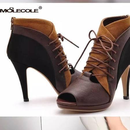 莫蕾蔻蕾 夏季高跟细跟女鞋靴帮时装防水台性感鱼嘴凉鞋
