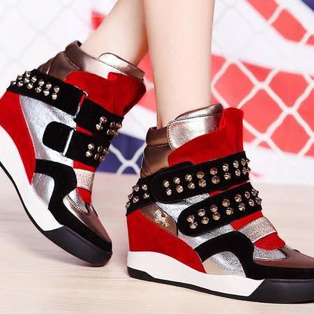 莫蕾蔻蕾 秋冬新款休闲日系女鞋铆钉内增高圆头高帮鞋子