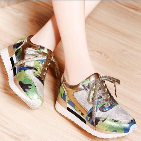 莫蕾蔻蕾 秋冬新款平底松糕厚底女鞋运动休闲低帮鞋单鞋
