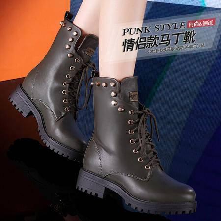 莫蕾蔻蕾 新款冬季中跟方跟女鞋 铆钉短靴保暖马丁靴女靴子