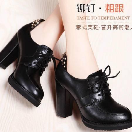 莫蕾蔻蕾 秋冬新款欧美风高跟鞋粗跟女鞋铆钉低帮女单鞋