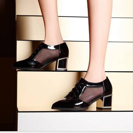 莫蕾蔻蕾 夏季新款韩版尖头女鞋休闲低帮鞋单鞋高跟鞋