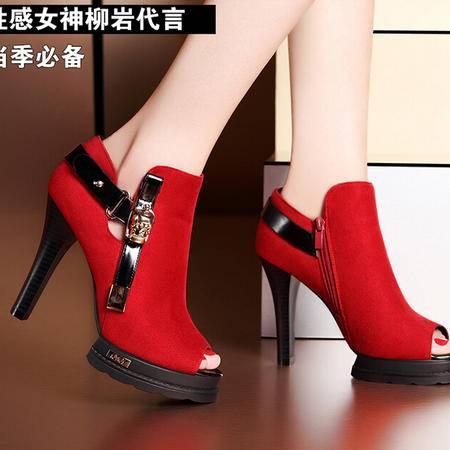莫蕾蔻蕾 夏季新款性感鱼嘴高跟女鞋细跟防水台靴帮凉鞋