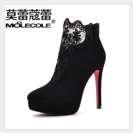 莫蕾蔻蕾秋冬季女鞋单鞋尖头深口蕾丝高跟鞋时尚性感细跟绒里保暖