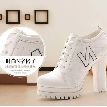 莫蕾蔻蕾 秋冬新款N字鞋高跟鞋粗跟女鞋低帮鞋休闲女单鞋