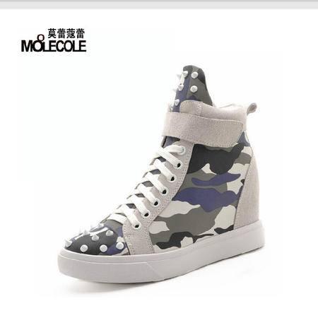 莫蕾蔻蕾 秋冬新款迷彩休闲高帮鞋高跟内增高圆头女鞋