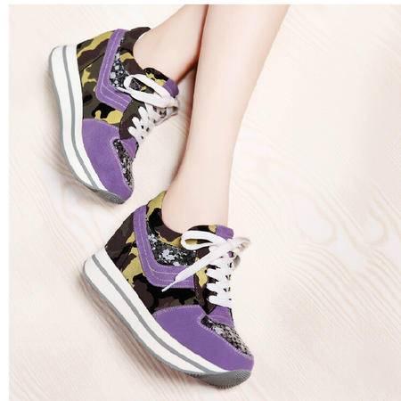 莫蕾蔻蕾 秋冬新款运动休闲女鞋内增高松糕低帮鞋水钻单鞋910