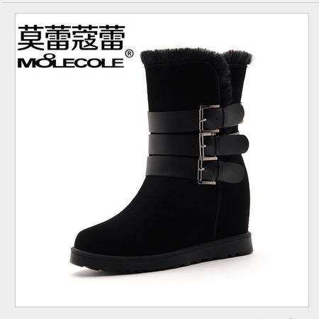 莫蕾蔻蕾 冬季新款高跟鞋女鞋内增高中筒靴女靴雪地靴