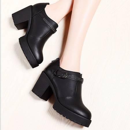 莫蕾蔻蕾 新款女鞋单鞋粗跟高跟鞋防水台休闲鞋女士百搭鞋子