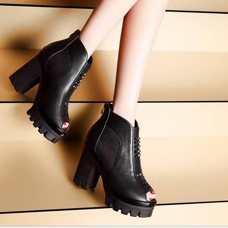 莫蕾蔻蕾 春夏新款网纱透气时尚铆钉休闲鞋 鱼嘴粗跟女鞋单鞋