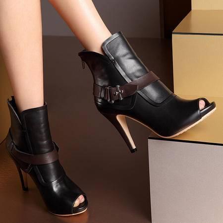 莫蕾蔻蕾 韩版高跟鞋 鱼嘴鞋细跟 百搭单鞋简约OL女鞋