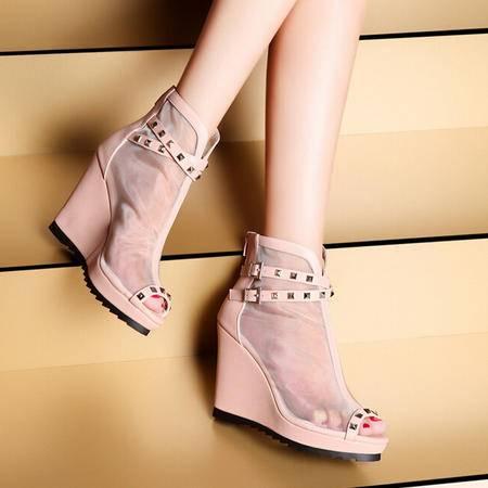 莫蕾蔻蕾 夏季新款时尚透明网纱女凉鞋透气坡跟女单鞋包邮