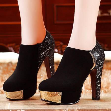 莫蕾蔻蕾 秋冬新款水钻防水台粗跟女鞋超高跟低帮鞋单鞋