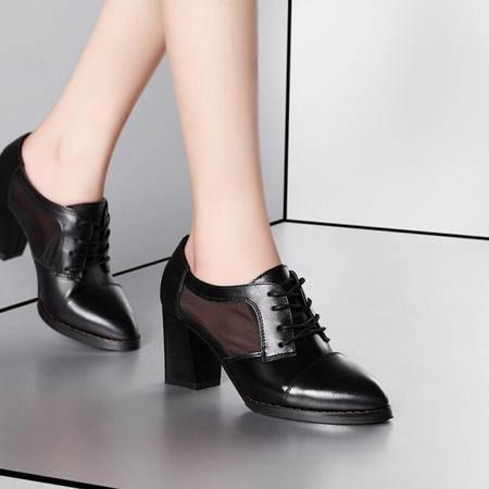 莫蕾蔻蕾 春夏新款头层牛皮尖头高跟鞋 粗跟单鞋 网纱透气女鞋