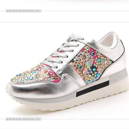 莫蕾蔻蕾 秋冬新款水钻平底韩版女鞋运动休闲松糕女单鞋