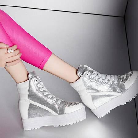 莫蕾蔻蕾 夏季新款松糕跟圆头女鞋子 防水台内增高休闲鞋