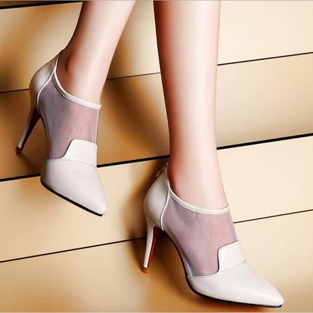 莫蕾蔻蕾 早秋季新款尖头高跟鞋细跟透气甜美网纱白色女鞋单鞋