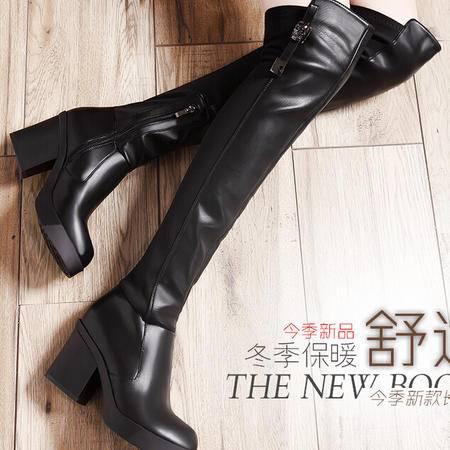 莫蕾蔻蕾 冬季高跟粗跟女鞋过膝靴弹力布高筒靴长靴女靴1