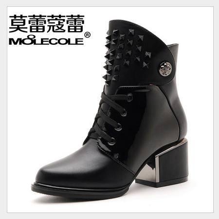 莫蕾蔻蕾 秋冬新款高跟粗跟女鞋马丁靴铆钉女靴短靴子