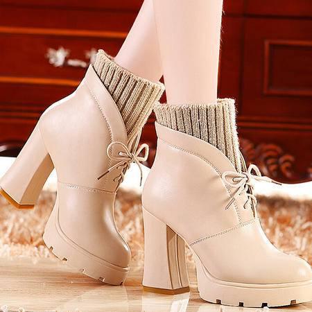 莫蕾蔻蕾 秋冬新款高跟鞋女鞋粗跟女靴圆头短靴马丁靴